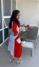 Sexy Printed Long Sleeve Irregular Shirt Dress WY-6818