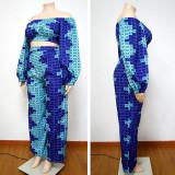 Plus Size Printed Long Sleeve Off Shoulder 2 Piece Sets NNWF-7239