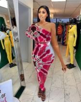 Tie Dye Print One Shoulder Long Skirt 2 Piece Sets YMT-6214