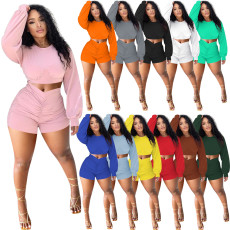 Solid Long Sleeve Ruched Two Piece Shorts Set NIK-253