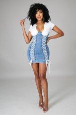 Plus Size Denim Patchwork Lace-Up Short Sleeve Mini Dress LX-3503