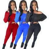 Solid Long Sleeve Casual 2 Piece Pants Set SMF-8105