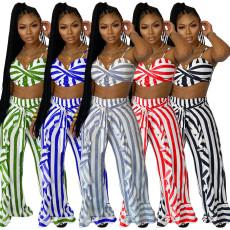 Plus Size Striped Sling Crop Top+Ruffled Pants 2 Piece Sets YIM-201