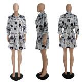 Casual Printed Long Sleeve Shirt Dress YBSF-86719