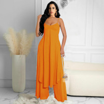 Solid Long Sling Top And Pants Two Piece Sets YYGF-10818