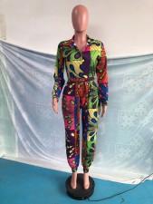 Casual Printed Long Sleeve High Waist Jumpsuit OMY-0032
