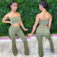 Solid Tube Top And Pants Two Piece Sets XINF-60023