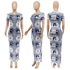 Casual Printed Short Sleeve Split Maxi Dress WSYF-5887