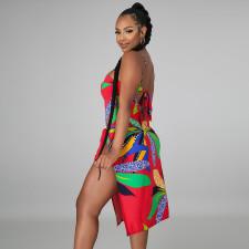 Sexy Printed Bikini Bodysuit With Beach Skirt 2 Piece Sets ATDF-65003