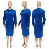 Casual Solid Long Sleeve Split Hoodie Dress WMEF-20763