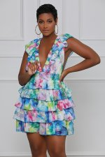 Sexy Printed Sleeveless Ruffled Cascading Mini Dress SMXF-9626