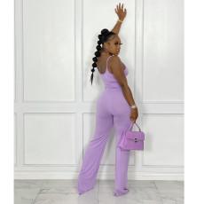 Solid Sleeveless Pocket Sling Jumpsuit YIY-5299