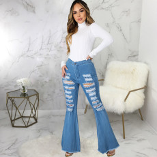 Plus Size Denim High Waist Ripped Hole Flared Jeans HSF-2572