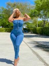 Plus Size Denim Off Shoulder Strapless Jeans Jumpsuit LX-6061