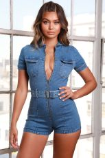 Plus Size Denim Short Sleeve Zipper Belted Romper LX-6062