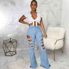 Plus Size Denim Ripped Hole Flared Jeans Pants HSF-2476