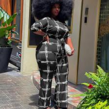 Plus Size Plaid Print Oblique Shoulder Jumpsuit YAOF-80051