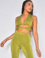 Sexy Backless Crop Top And Pants 2 Piece Sets YUEM-66715