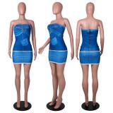 Fashion Sexy Tube Top Imitation Denim Dress SZF-8138