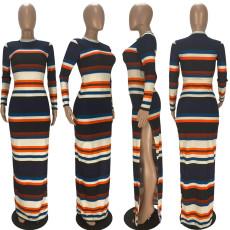 Striped Long Sleeve Split Maxi Dress LDS-3288