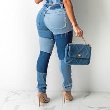 Denim Patchwork High Waist Skinny Jeans Pants SH-390177