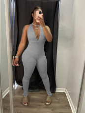 Solid Sexy Deep V Neck Halter Jumpsuit WY-6832