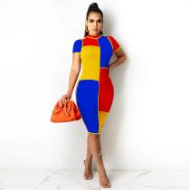 Color Bloak Patchwork Short Sleeve Bodycon Dress SZF-8154