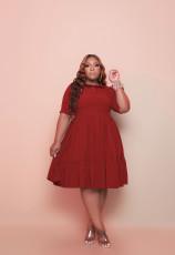 Plus Size Solid High Waist Big Swing Pleated Midi Dress WY-7112