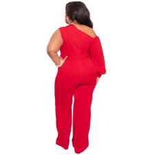 Plus Size One Shoulder Long Sleeve Sashes Jumpsuit NNWF-7089