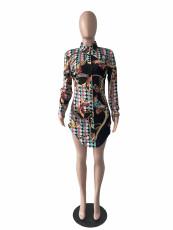 Casual Printed Long Sleeve Shirt Dress LS-0356