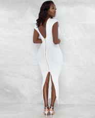 Solid Sexy Backless Zipper Split Bodycon Maxi Dress WY-6825