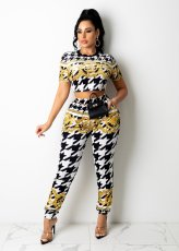 Houndstooth Print Short Sleeve Two Piece Pants Set QZX-6224