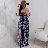 Floral Print Off Shoulder Split Maxi Dress JRF-3641