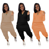 Solid V Neck Long Sleeve Two Piece Pants Set YWF-1853