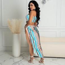 Sexy Colorful Striped Tube Top Long Skirt 2 Piece Sets MUKF-051