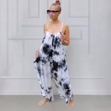 Plus Size Tie Dye Print Loose Sling Jumpsuit MUKF-048