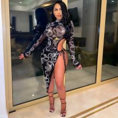 Sexy Mesh See Through Hot Drilling Split Club Dress CYA-9055