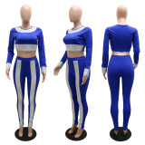Slim Round Neck Long Sleeve Pencil Pants Two Piece Sets CYA-9084