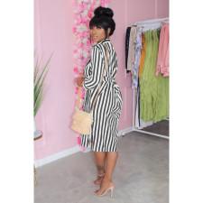 Casual Striped Long Sleeve Shirt Dress KYF-3088