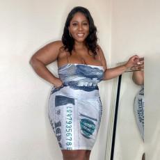 Plus Size Dollar Print Spaghetti Strap Sleeveless Dress MUKF-036