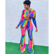 Sexy Contrast Color Long Sleeve Bandage Hollow Top And Pants 2 Piece Sets MODF-109