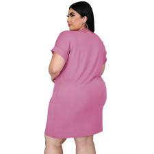 Plus Size Poker Print Short Sleeve Loose Dress MUKF-031