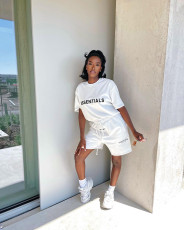 Letter Print Casual T-shirt Shorts Two Piece Sets  JGEF-JG055