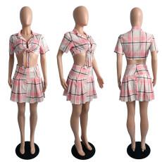 Fashion Plaid Print Pleated Skirt Casual Suit JGEF-JG049