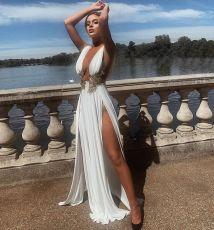 Sexy Fashion High Slit Party Evening Long Dress ZSD-0393