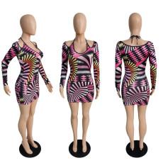 Sexy Printed Long Sleeve Slim Mini Dress MUKF-028