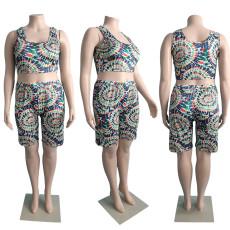 Plus Size Print Fashion Casual  Vest Shorts Two Piece Sets JGEF-JG051