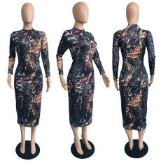 Fashion Print Slim Long Sleeve Dress JGEF-JG056
