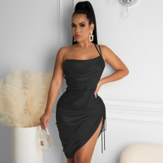 Sexy Off Shoulder Drawstring Club Dress MUKF-041