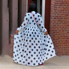Polka Dot Print See Through Full Sleeve Long Cloak Coat WTF-9160